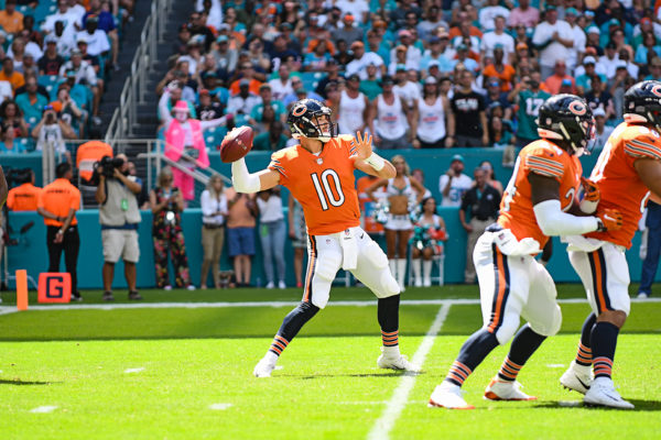 Chicago Bears quarterback Mitchell Trubisky (10) looks to pass down field