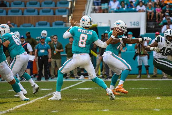 Miami Dolphins quarterback Brock Osweiler (8)