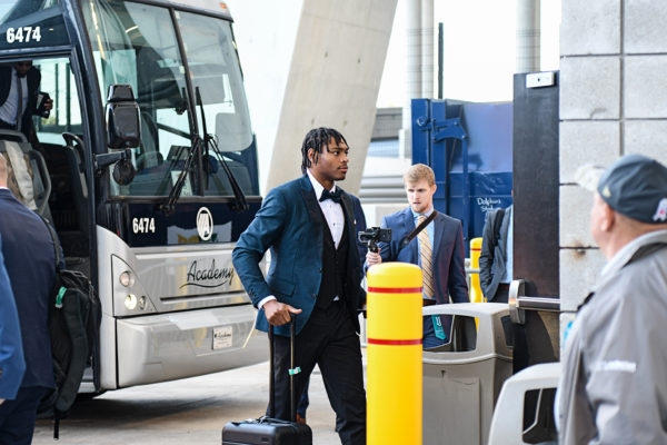 Jacksonville Jaguars cornerback Jalen Ramsey (20) arrives in fashion