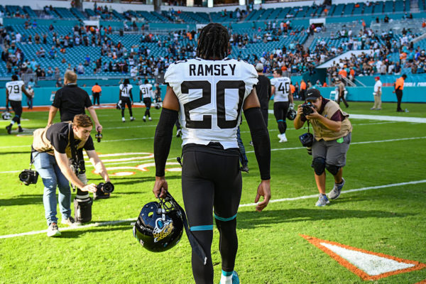 Jacksonville Jaguars cornerback Jalen Ramsey (20) walks off the field