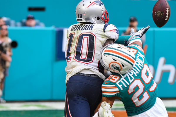 just a little pass interference from Miami Dolphins free safety Minkah Fitzpatrick (29)