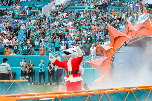 Miami Dolphins mascot TD runs out dressed as Santa