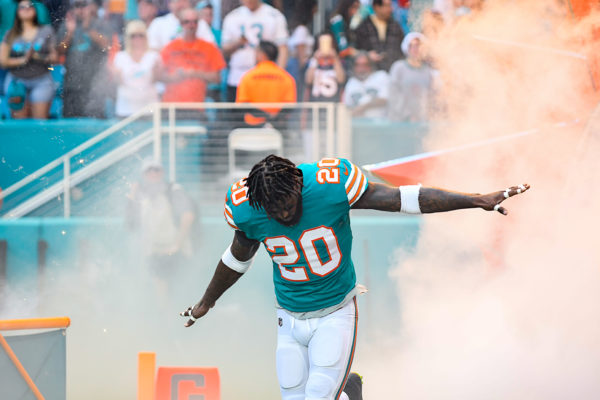 Miami Dolphins free safety Reshad Jones (20) comes flying out