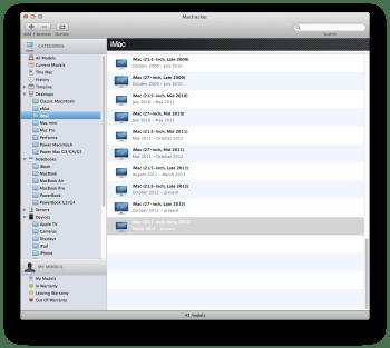 Mactracker configuration des produits Apple