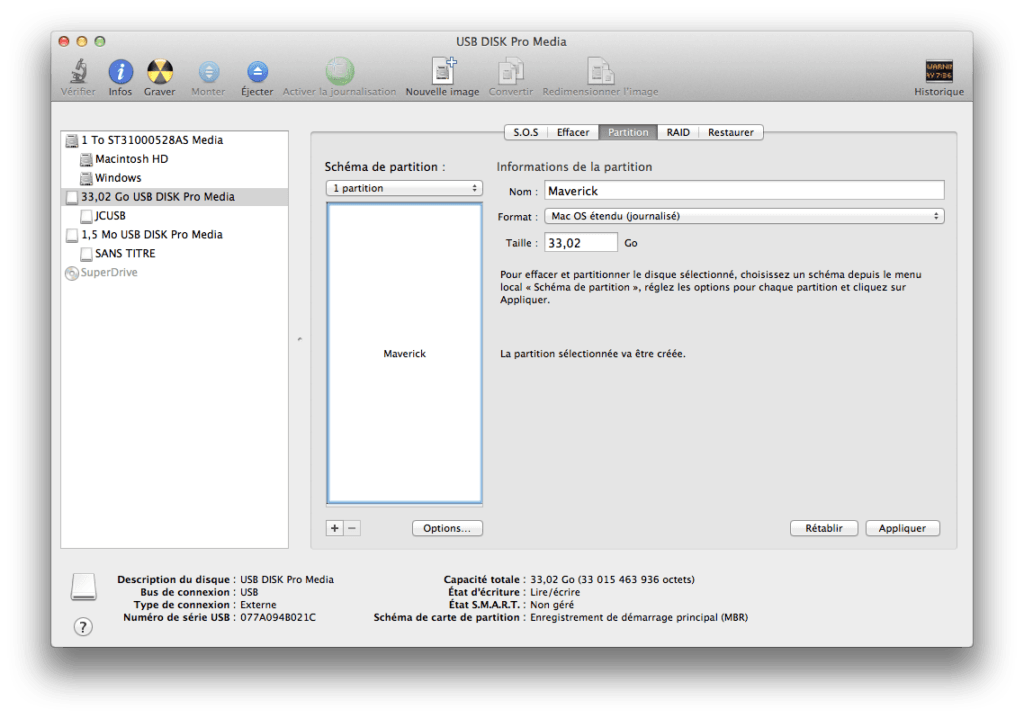 Créer un disque USB Bootable de MAC OS X Mavericks partition usb mavericks