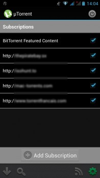 utorrent android rss