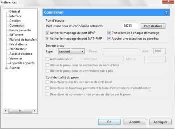 configure port connexion utorrent