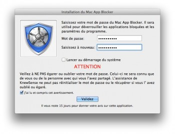 Mac App Blocker creation mot de passe app