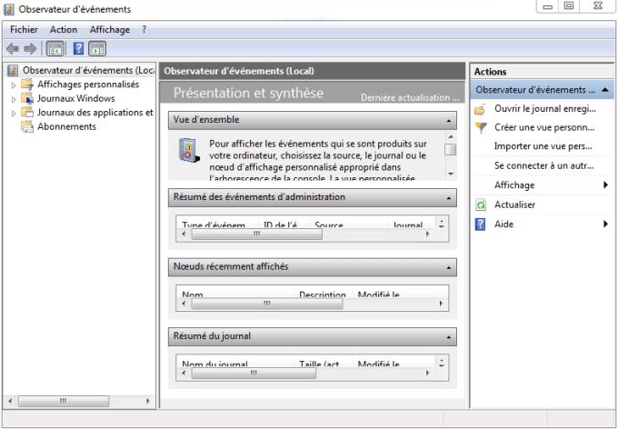 Temps de démarrage Windows : observateur d'évènements