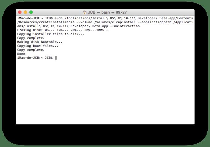 el capitan bootable copie de fichiers installation