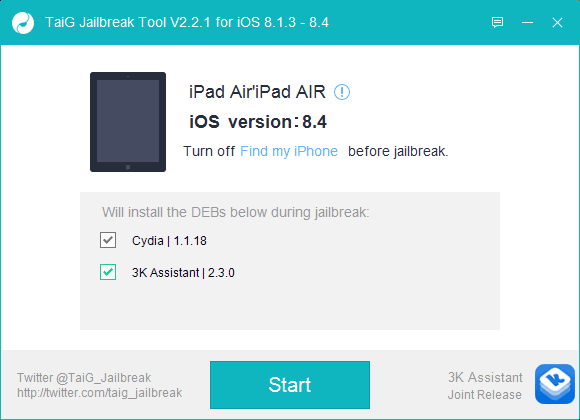 TaiG Jailbreak iOS 8.4 iphone reconnu
