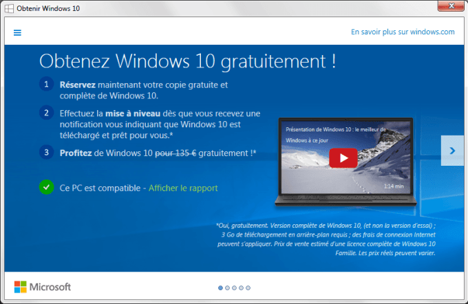 installer windows 10 reserver windows