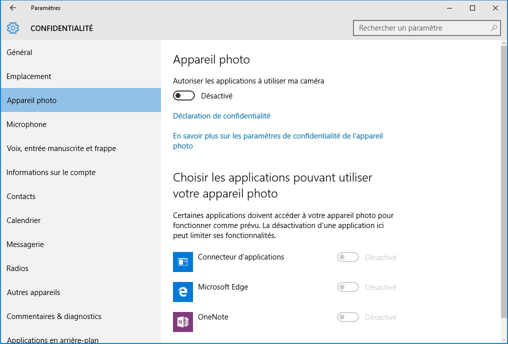 windows 10 vie privee appareil photo