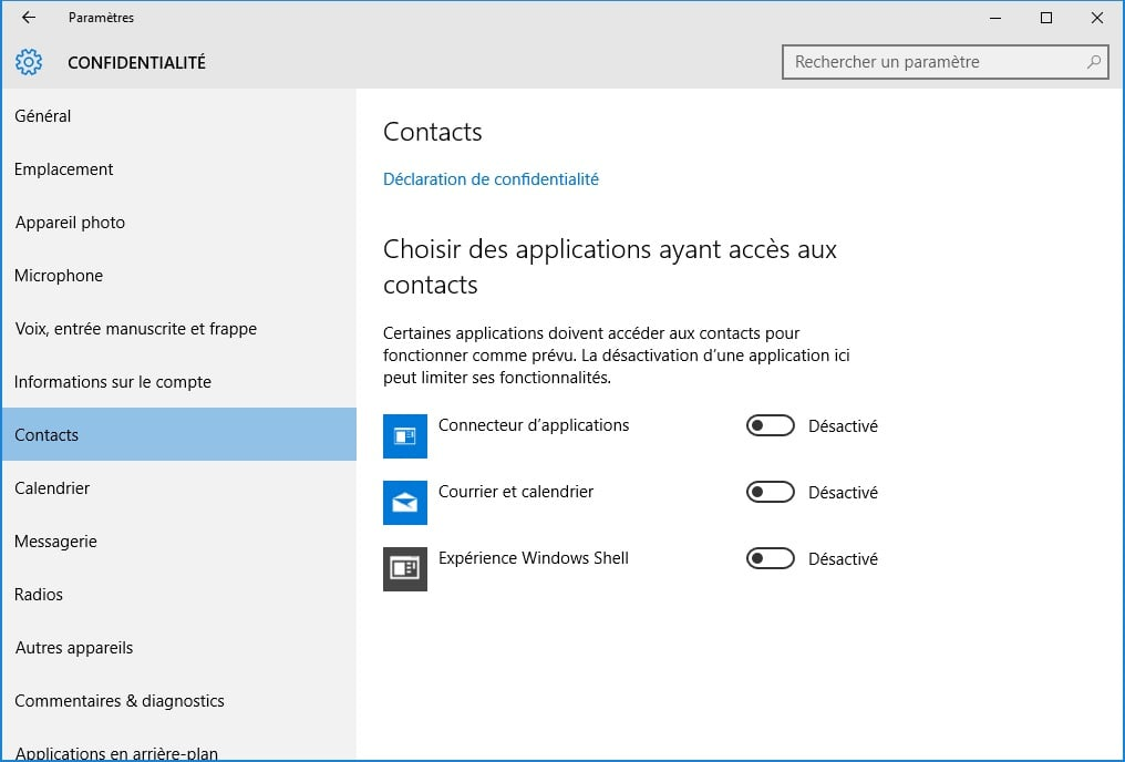 windows 10 vie privee contacts