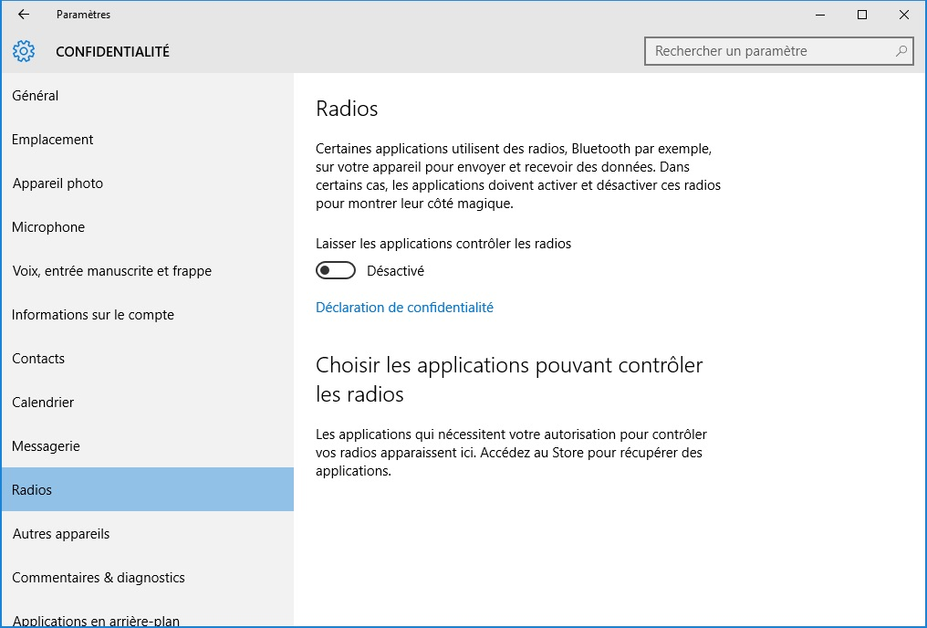 windows 10 vie privee radios