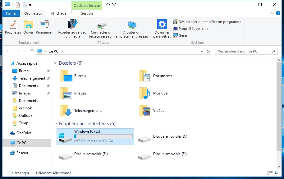 Defragmenter Windows 10 proprietes disque principal