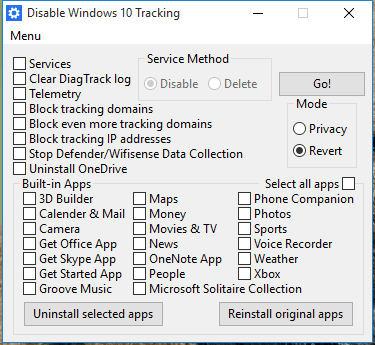 tracking windows 10 retour en arriere