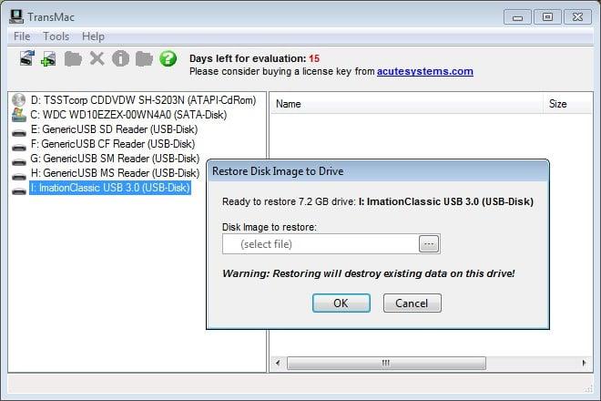 cle USB Mac OS X El Capitan depuis Windows emplacement fichier
