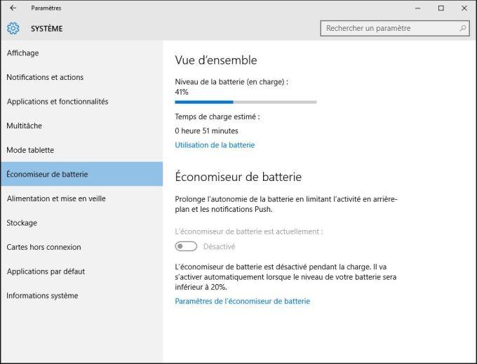 accelerer windows 10 economiseur de batterie