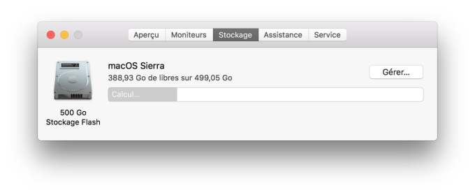 espace de stockage macOS Sierra gerer