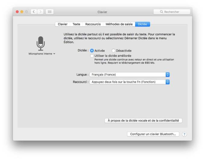 Activer la dictee vocale mac sierra