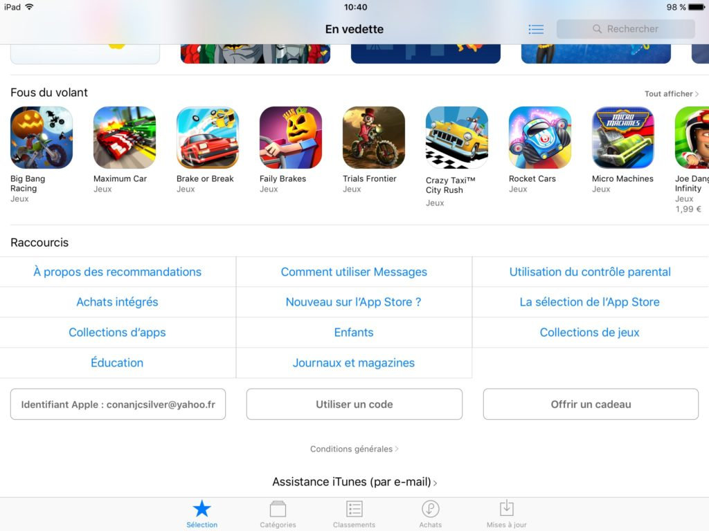 Carte cadeau Apple ios