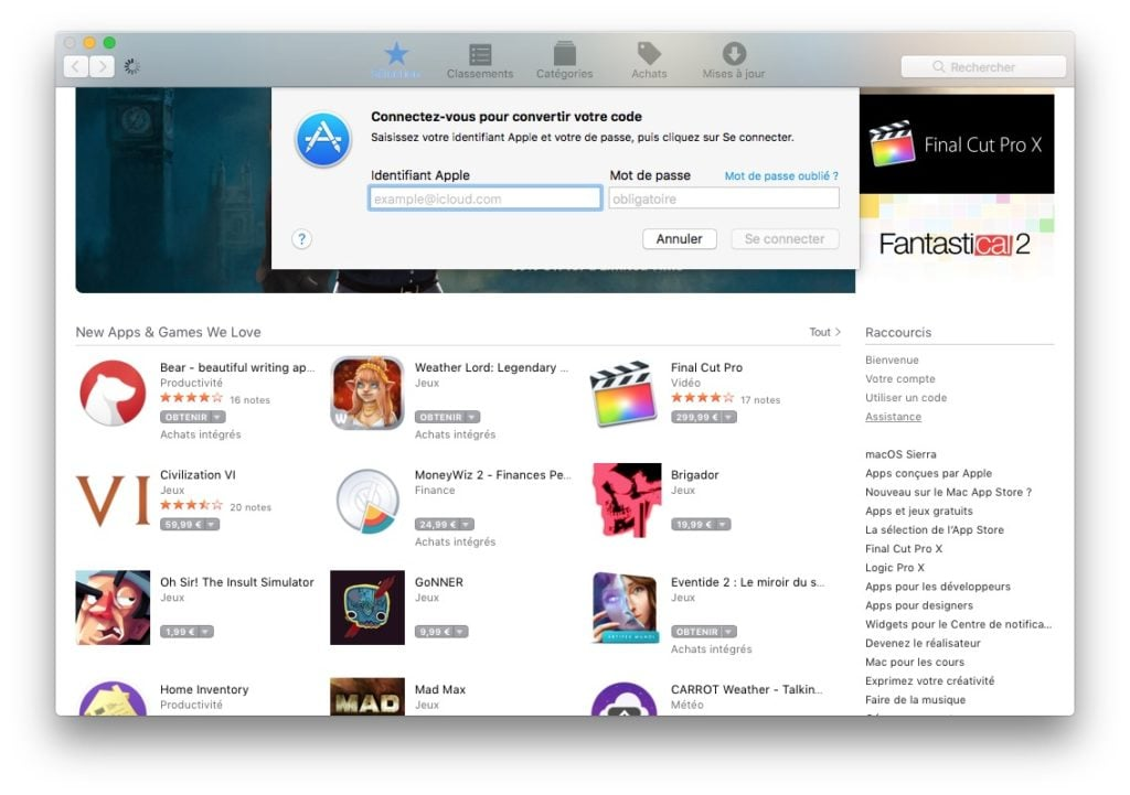 Carte cadeau Apple mac app store identifiant