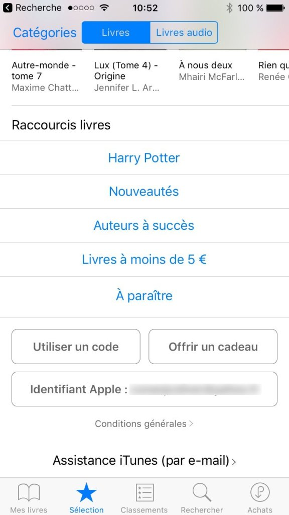 carte cadeau apple ibooks iphone