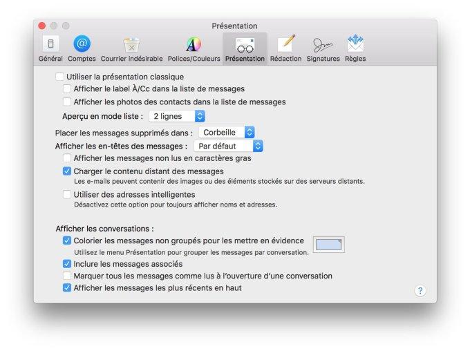 Afficher les messages les plus récents en haut avec Mail macos sierra
