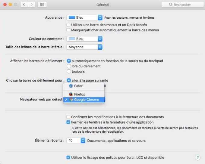 changer les apps par defaut sur mac navigateur safari pour chrome
