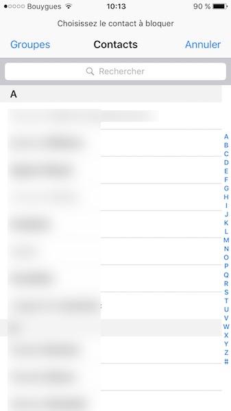bloquer un contact des contacts iphone
