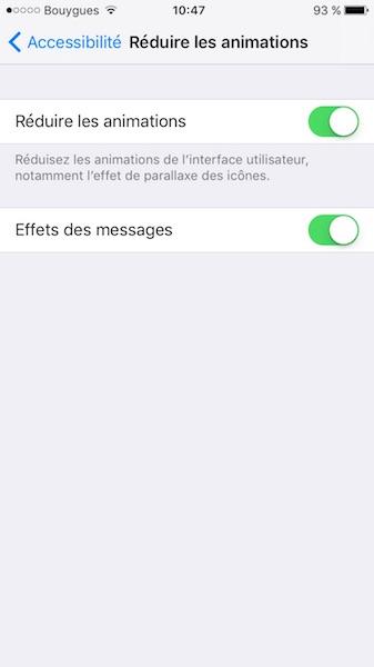 ios 10 lent reduire animations et effets des messages