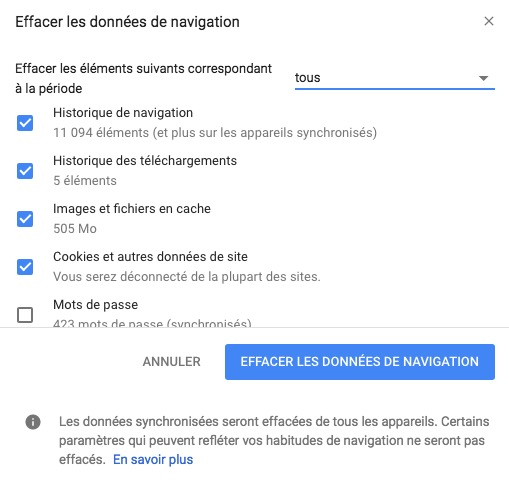 Accelerer Google Chrome Mac effacer donnees de navigation