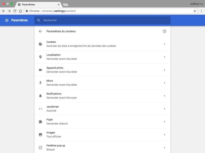 Accelerer Google Chrome Mac et Windows parametres du contenu flash