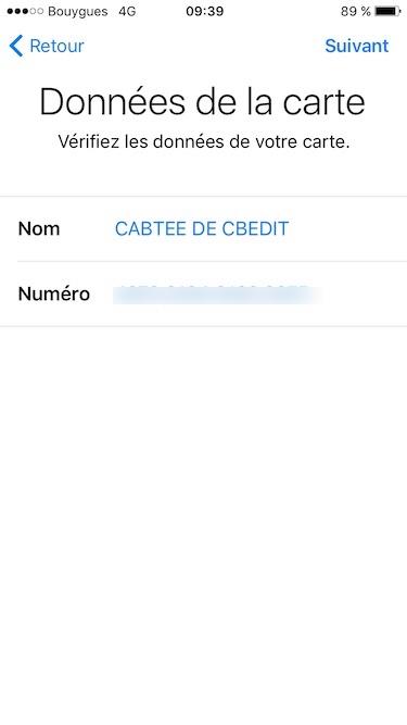 configurer apple pay verifier donnees de la carte
