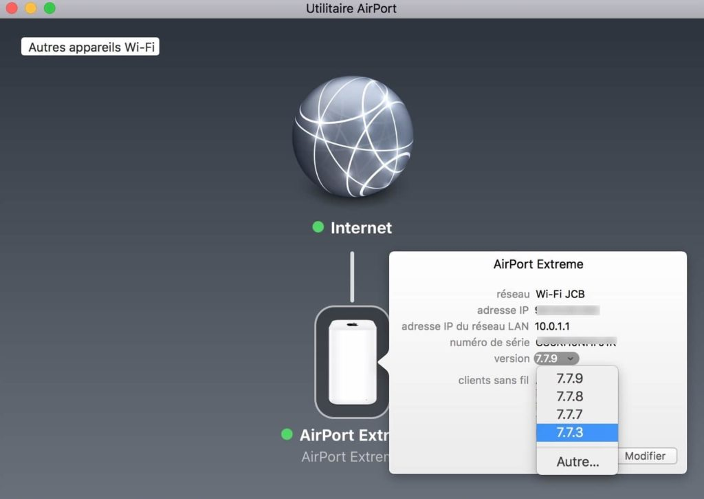 Downgrade Airport firmware choisir version precedente