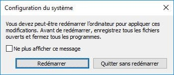 Demarrer Windows 10 en mode sans echec bouton Redemarrer direct