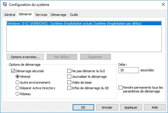 Demarrer Windows 10 en mode sans echec demarrage securise