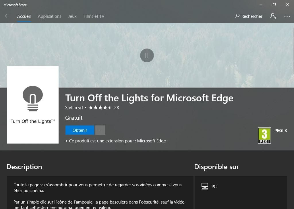 Activer le theme sombre de Microsoft Edge turn off the lights