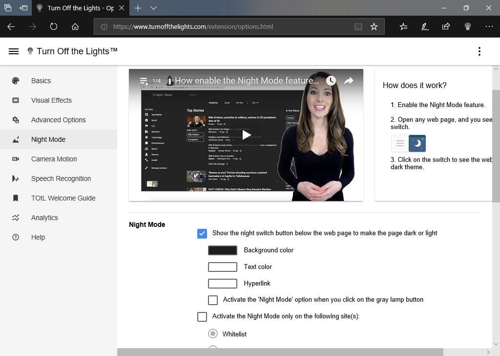 Activer le theme sombre de Microsoft Edge turn off the lights Options options avancees