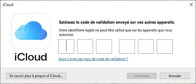 icloud windows 10 code de validation