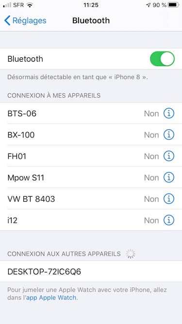 jumelage iphone windows en bluetooth