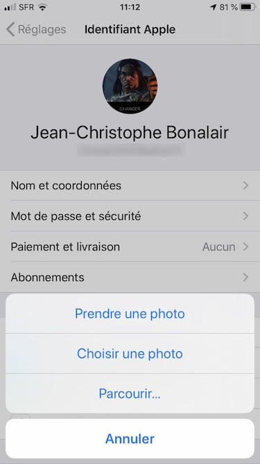 modifier photo identifiant iphone ipad ipod touch