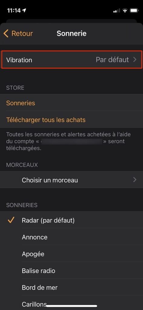 regler vibration alarme iphone