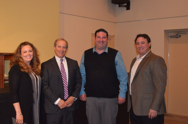 New Katz JCC Board Members Sarah Beth Johnson of Margate, Dr. Howard Axelrod of Margate and Brad Jacobson of Margate with Vice President Eric Share of Ventnor.