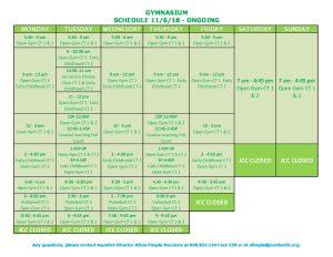 Gym Schedule 11 6 18 | Milton & Betty Katz JCC