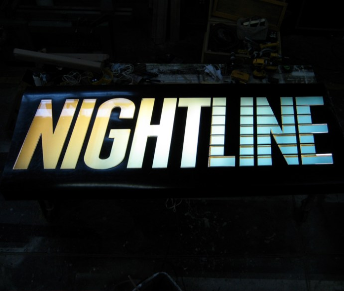Nightline sign. Designed and Produced by ABC. Built by JCDP