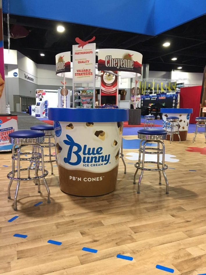 Oversize Ice cream containers for Blue Bunny at an Iowa Tradeshow.