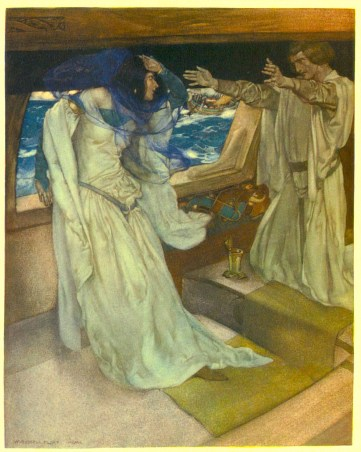 """Image: W. Russell Flint, """"Thus it happened, the love first betwixt Sir Tristram and La Beale Isoult..."""" La Morte D'Arthur, vol. II. London: The Medici Society, 1910–1911."""