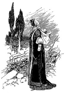 The Handless Girl (Gordon Brown, illustrator, Fairy Tales from Grimm, print, England, 1894, public domain)